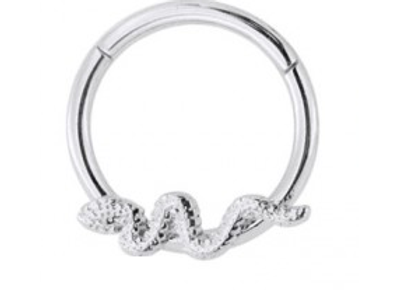 Silver Snake Hinged Segment Ring- Surgical Steel