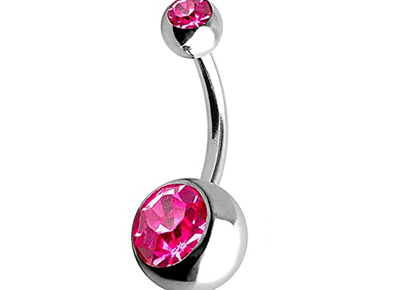 Rose Double or Single Jewelled Belly Bars - Surgical Steel