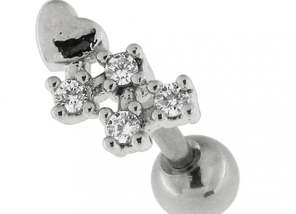 Heart with Micro Jewelled Tail Labret/Barbell - 1.2mm