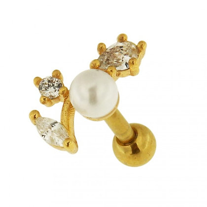 Gold Jeweled Floral Pearl Barbell- 1.2mmX6mm