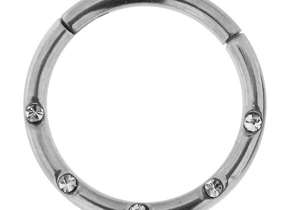 Silver Jewelled Hinged Segment Ring - Surgical Steel