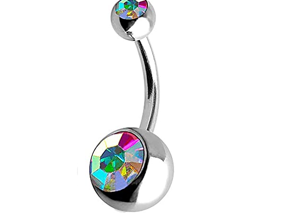 AB Double or Single Jewelled Belly Bars - Surgical Steel