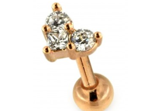 Rose Gold 3 Stone Jewelled Labret/Barbell- 1.2mmX6mm