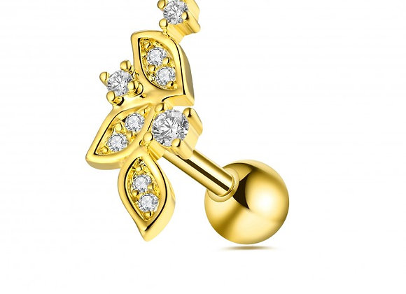 Gold Micro Jewelled Floral Labret/Barbell - 1.2mmX6mm