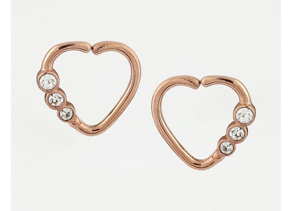 1.2mm Jewelled Rose Gold Heart - Surgical Steel