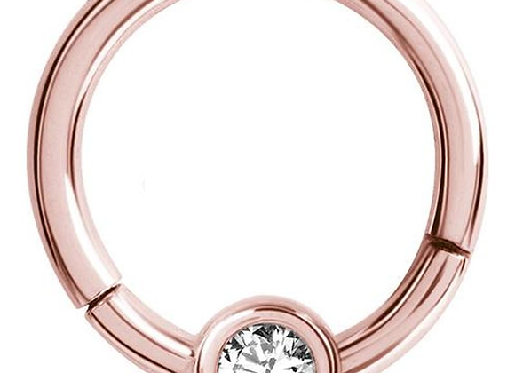 Rose Gold Jewelled Hinged Segment Ring with Ball - Surgical Steel