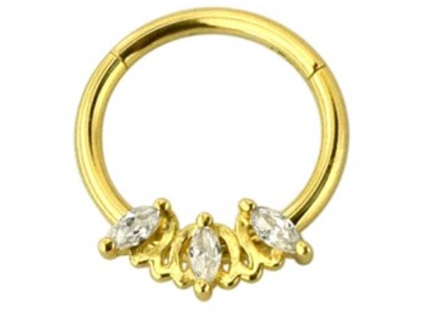 Gold Triple Marquise CZ Stone Hinged Segment Ring - Surgical Steel