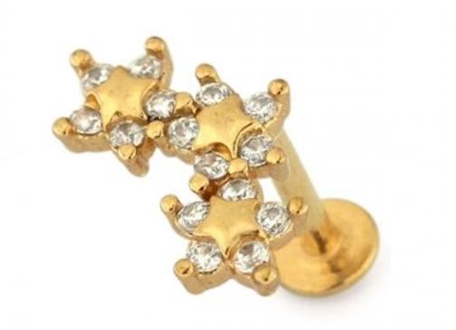 Gold Tri Star Labret/Barbell - 1.2mmX6mm