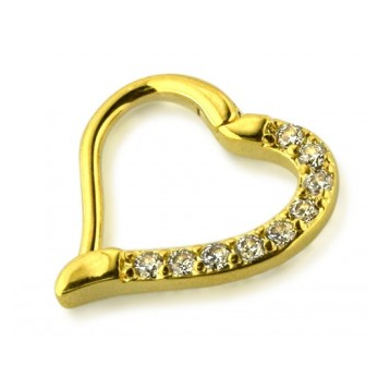 Gold Hinged Jeweled Heart Ring - Surgical Steel
