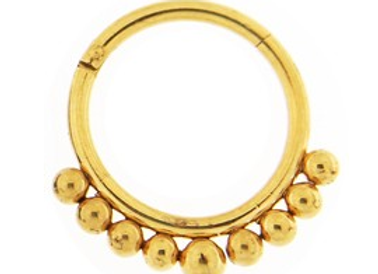 Gold Tribal Paved Balls Hinged Segment- Surgical Steel