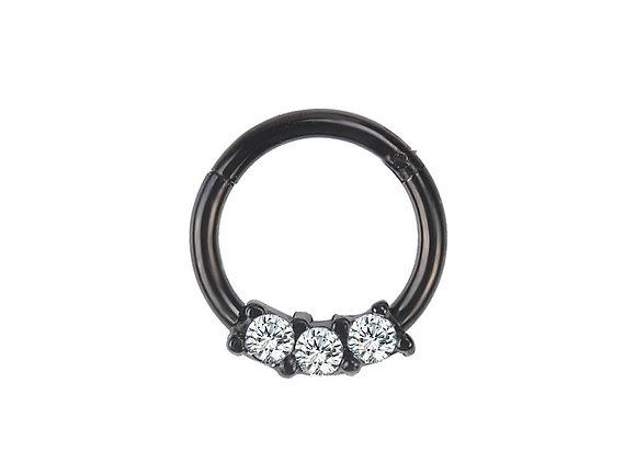 Black Triple Jewelled Hinged Segment Ring - Surgical Steel