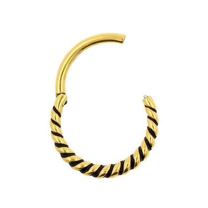 Gold Twist Hinged Segment Ring - Surgical Steel
