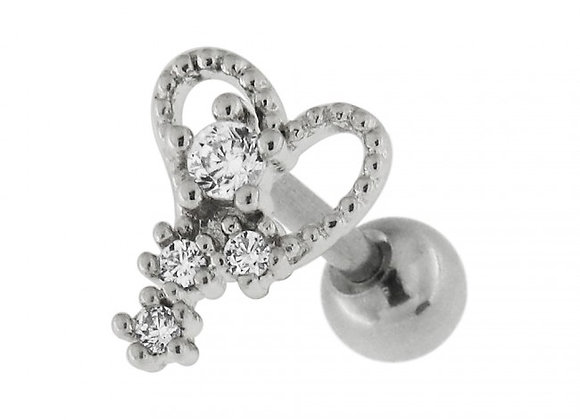 Heart with Micro Setting CZ Stone - 1.2mm