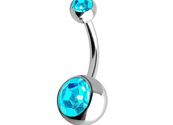 Aqua Double or Single Jewelled Belly Bars - Surgical Steel