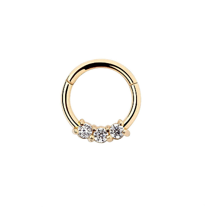 Gold Triple Jewelled Hinged Segment Ring - Surgical Steel