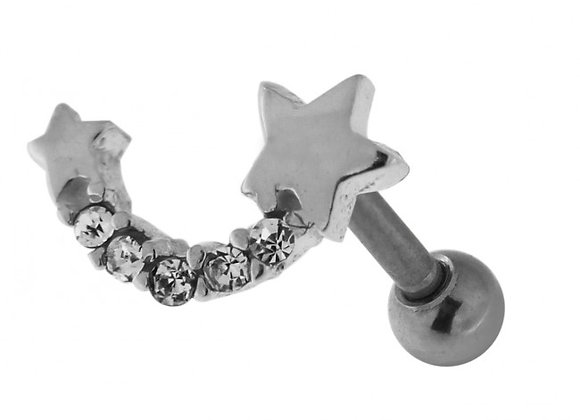 Silver Star with Jewelled Tail Labret/Barbell - 1.2mm