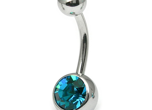 Turquoise Double or Single Jewelled Belly Bars - Surgical Steel