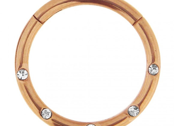 Rose Gold Jewelled Hinged Segment Ring - Surgical Steel