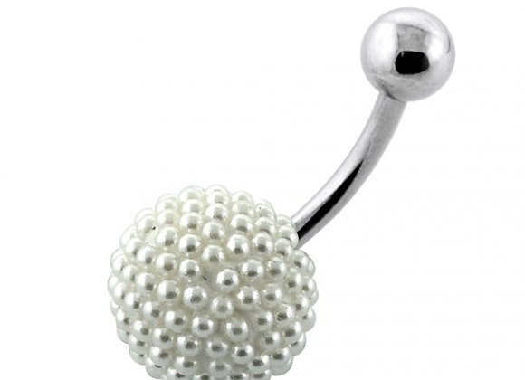 Pearl Balls Belly Bars - Surgical Steel