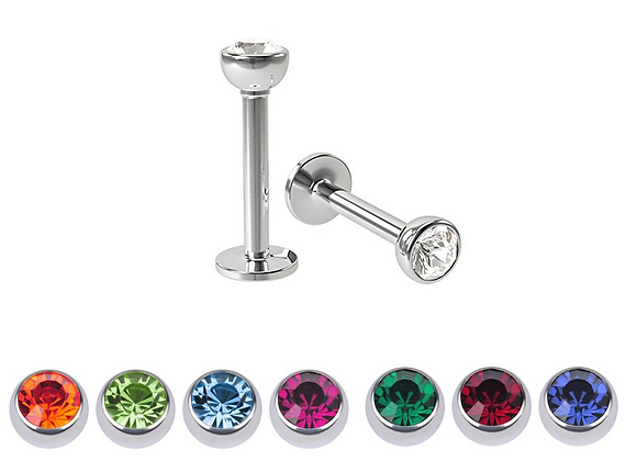 1.2mm Externally Threaded Jewelled Half Balls Labrets - Surgical Steel