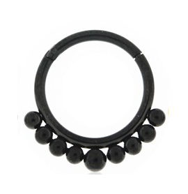 Black Tribal Paved Balls Hinged Segment- Surgical Steel