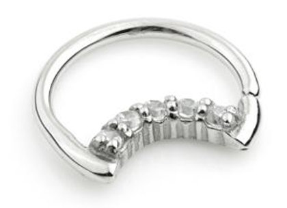 1.2mm Jewelled Moon Ring - Surgical Steel