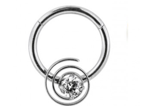 Silver CZ Jeweled Swirl Segment Ring - Surgical Steel
