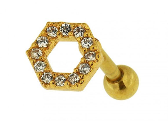 Gold Jewelled Hexagon Labret/Barbell - 1.2mmX6mm