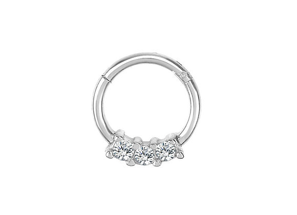 Silver Triple Jewelled Hinged Segment Ring - Surgical Steel