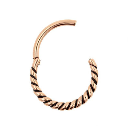 Rose Gold Twist Hinged Segment Ring - Surgical Steel