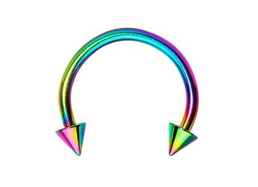 Rainbow Spiked Horseshoes - Surgical Steel