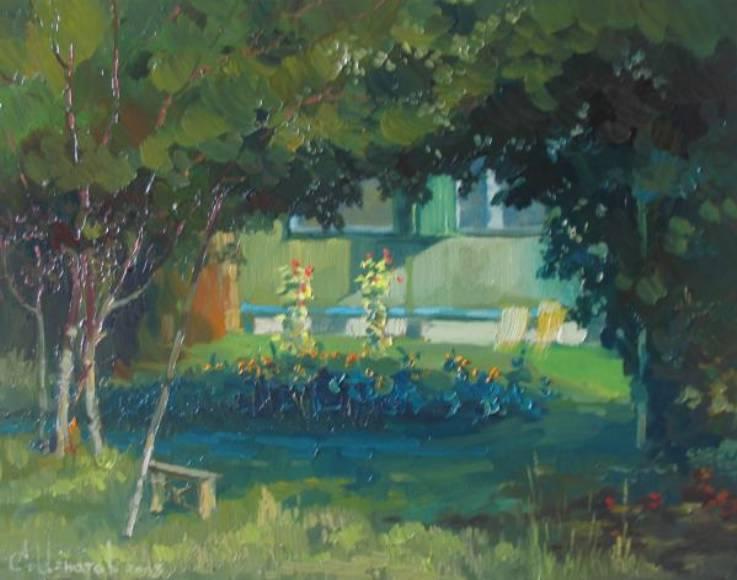 Под тенью дикого винограда   х.м.   35х45   2008 г.