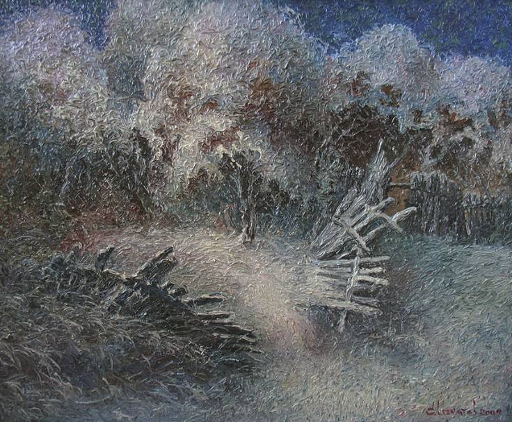 Первый снег в вишнёвом саду   х.м.   70х85   2009 г.