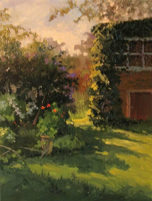 Солнце в саду х.м.   40х30   2008 г.