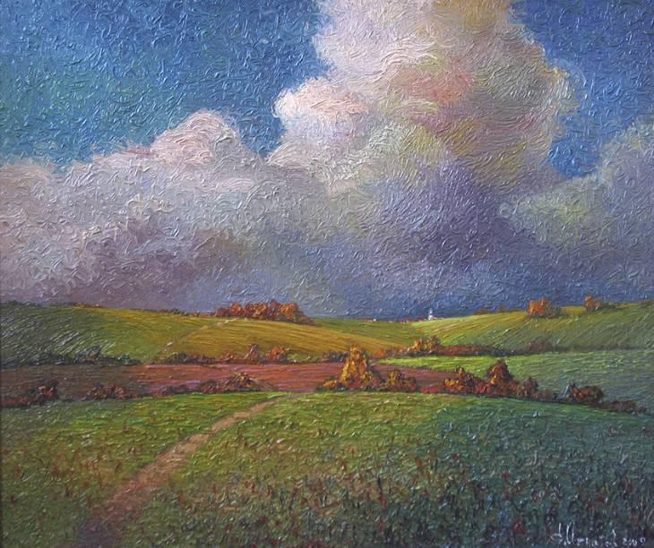 Поле, облако, дорога   х.м.   60х70   2009 г.