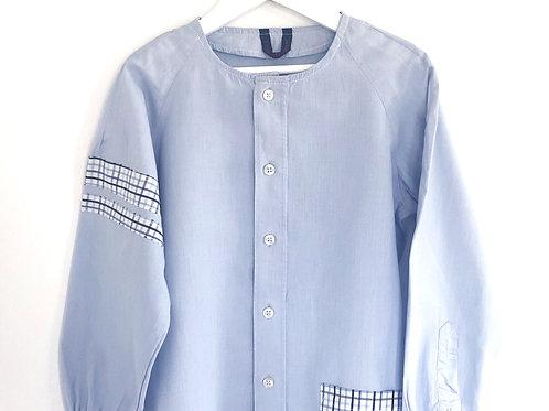 Blouse d'écolier unie et carreaux - Bleu
