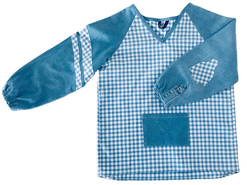 Blouse d'écolier à carreaux - Bleu