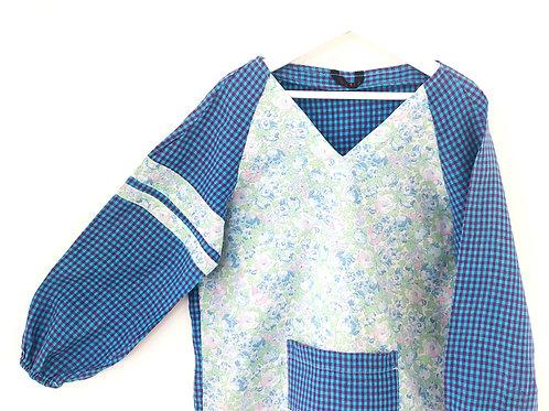 Blouse d'écolier à fleurs et carreaux - Vert et Bleu