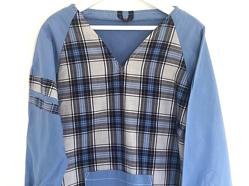 Blouse d'écolier à larges carreaux - Bleu