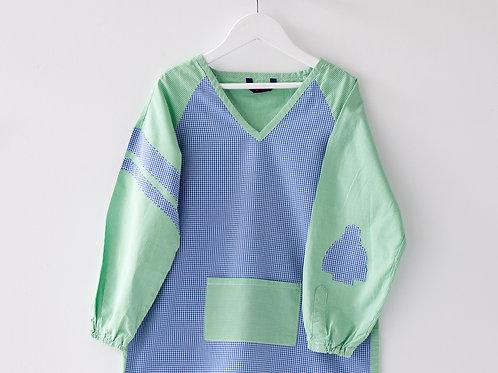 Blouse d'écolier à carreaux - Bleu et Vert