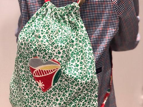 Le sac à tout cœur, à fleurs - Vert et Rouge