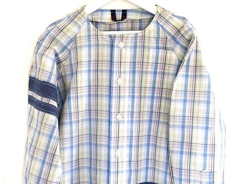 Blouse d'écolier à rayures - Blanc, Bleu et Beige