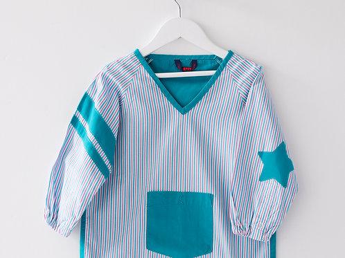 Blouse d'écolier rayée bicolore - Bleu et Violet