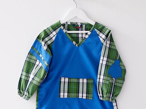 Blouse d'écolier unie et à carreaux - Bleu et Vert
