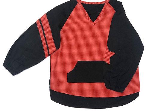 Blouse d'écolier unie et à carreaux - Noir et Rouge