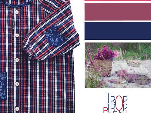 Blouse d'écolier à carreaux et fleurs - Bleu et Rouge