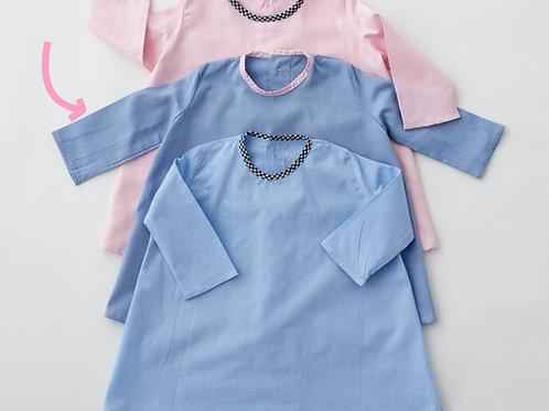 Robe bleue col rose - 6 mois