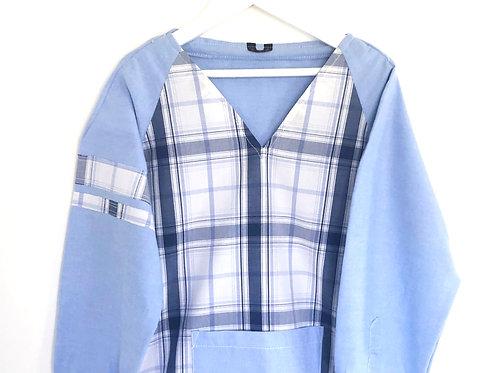 Blouse d'écolier à carreaux - Bleu et Blanc