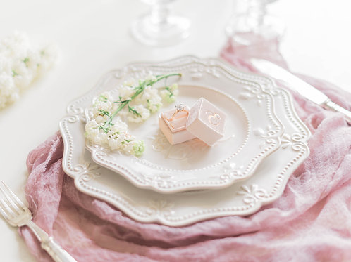 Floral Shaped White Charger with Pressed Pattern