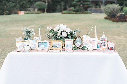 Table with White Table Cloth